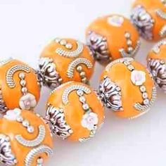Orange Kashmiri Bollywood Beads w/ Flowers- 10 Pieces by BeadMom