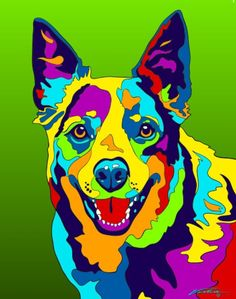 Multi-Color Australian Cattle Matted Prints & Canvas Giclées. Hand painted and printed in USA by the artist Michael Vistia. Dog Breed: The Australian Cattle Dog, or simply Cattle Dog, is a breed of he