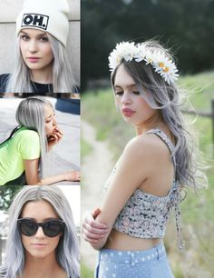 traumhafte silberne lange Haare Style mit Extensions