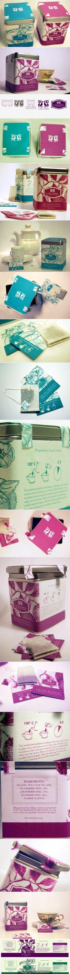 Lovely early bird organic tea #packaging curated by Packaging Diva PD  created via https://www.behance.net/gallery/Earlybird-Organic-Tea/8516531