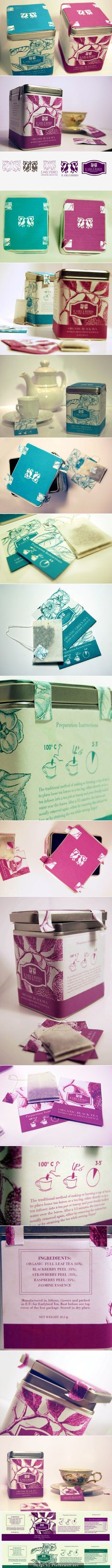 Lovely early bird organic tea packaging curated by Packaging Diva PD