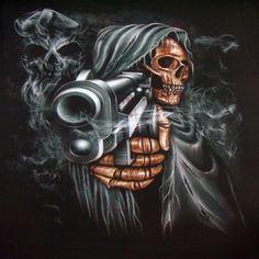 Grim Reaper Skull Tattoos | Grim Reaper Pointing Gun Mens T-Shirt M & L