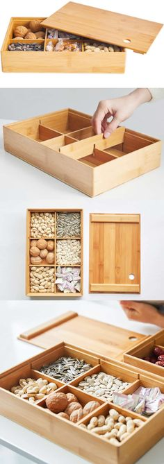 Bamboo Wooden Fun & Creative DIY Desk Organizer Ideas to Make Your Desk Cute!Bamboo Wooden Melon Seeds Nut Snacks Bowl S Desk Organization Diy, Diy Desk, Diy Stationery Organizer, Dry Fruit Box, Fruit Holder, Wooden Storage Boxes, Storage Ideas, Box Storage, Office Storage