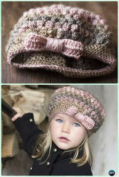 Crochet Puff Stitch Bow Hat Free Pattern Instruction- #Crochet Beanie Hat Free Patterns