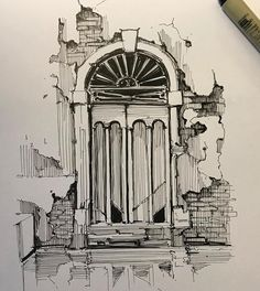 Architecture Drawing Sketchbooks, Architecture Concept Drawings, Art And Architecture, Building Drawing, Building Art, Pencil Art Drawings, Art Drawings Sketches, Arte Sketchbook, Urban Sketching