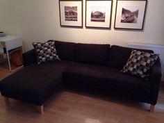 €199 sofá IKEA Katlstad. 3 plazas con chaiselongue. Forro nuevo. Incluye cojines. Nuevo €800 en http://www.ikea.com/es/es/catalog/products/S19904089/#/S59852941