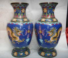 Cloisonne dragon vases