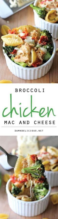 Broccoli Chicken Mac and Cheese - This lightened-up mac and cheese is a sure way to get even the pickiest of eaters to eat their veggies! I love cooking and making different varieties of dishes Pasta Recipes, Chicken Recipes, Dinner Recipes, Cooking Recipes, Healthy Recipes, Potato Recipes, Casserole Recipes, Crockpot Recipes, Chicken Mac And Cheese Recipe