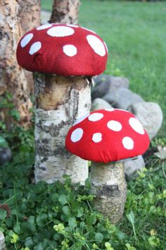 Items similar to Recycled Tree Branch Table Top Toadstool on Etsy Wood Crafts, Diy And Crafts, Party On Garth, Clay Pot People, Garden Mushrooms, Christmas Tree Branches, Bird On Branch, Tree Sculpture, Wood Ornaments