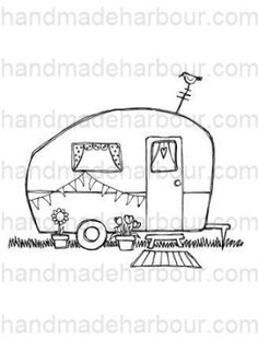 This digital stamp is a super cute image of a vintage caravan, complete with bunting, a doormat, flowers and even a little bird perched on the TV aerial.  A super image for a versatile card.  Your digital stamp is - as usual - an instant download which you can save, resize and print - then make it your own with your own choice of colours.