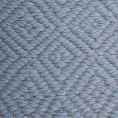 Diamond Twill, light blue 0472 on the natural yarn Vandra Rugs Yarn Colors, Colours, Natural Linen, Scandinavian Design, Wool Felt, Bespoke, Light Blue, Rugs, Diamond