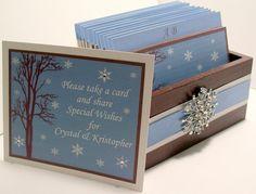 Winter Wedding Guest Book Box Set w/Snowflake Rhinestone Brooch - Chocolate, Ice Blue and White