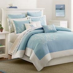 Presenting the new Blue Coastline Duvet 3-piece Queen Size bedding Collection, in shades of soft aqua blue with ivory trim and pretty ivory coral embroidered images.