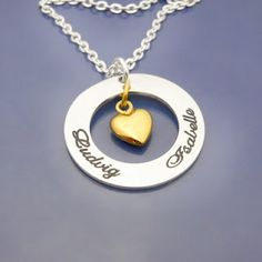 Silveramulet w goldheart. #namejewelry