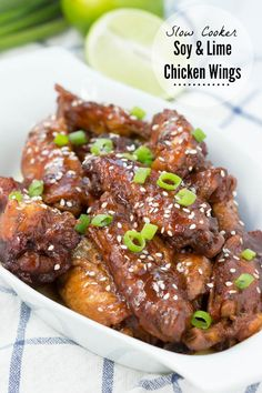 Slow Cooker Soy and Lime Chicken Wings - finger lickin' good! Add some chicken wings to your slow cooker, top with flavorful seasonings and get ready for the game!