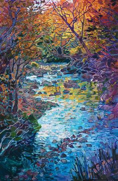 New England light beautiful painting of fall colors, by American impressionist Erin Hanson.