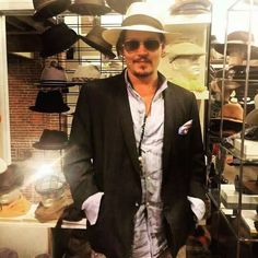Johnny Depp visiting the Montecristi Panama Hats shop in Yountville, CA in the Napa Valley on Johnny Depp, Here's Johnny, Hot Actors, Actors & Actresses, Perfect Boy, Celebs, Celebrities, Attractive Men, Tim Burton