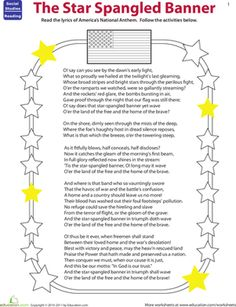 Worksheets Star Spangled Banner Worksheet pdf files of star spangled banner lead sheets in various keys fourth grade vocabulary civics government music worksheets read the banner