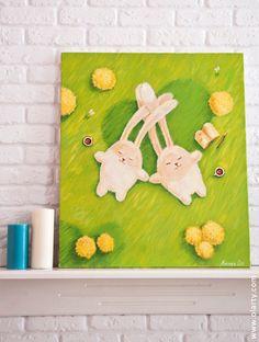 Bunnies in love. Illustration by Olga Yatsenko. www.olarty.com