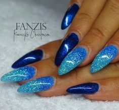 Nail enamel blues with sprinkles and designs  #blues #designs #enamel #sprinkles Nail Art Designs, Creative Nail Designs, Creative Nails, Acrylic Nail Designs, Blue Glitter Nails, Green Nails, Hot Nails, Hair And Nails, Fancy Nails