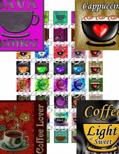 Coffee Lovers Digital Collage Sheet 1 inch squares by barbosaart for $3.99