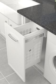 Tanova Simplex pull out laundry units suit cabinets from 300 mm to 450mm, while Simplex Plus caters for those from 400 to 450mm. There are steel and plastic laundry basket options. Soft-close or push-to-open options are available for some units. Plastic hampers are designed with a solid liquid containment bottom to protect cabinets from dripping laundry. They are durable and lightweight with sturdy built in handles for easy carriage between bathroom, wardrobe, laundry and clothesline.