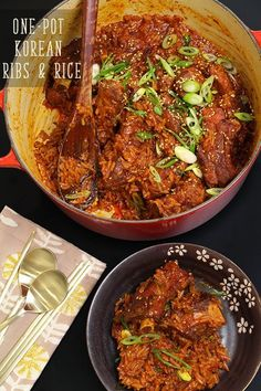 One-Pot Korean Spicy Ribs and Rice Recipe & Video - Seonkyoung Longest Grilled Chicken Salad, Chicken Salad Recipes, Tofu Recipes, Curry Recipes, Asian Recipes, Spicy Miso Ramen Recipe, Riblets Recipe, Bulgogi Recipe, Kitchens
