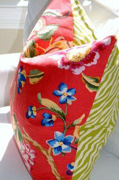 Decorative Pillow Covers - Brunschwig & Fils Fiesta de Flores Pillows with Fun Green and White Zebra.   Modern Coastal Interiors