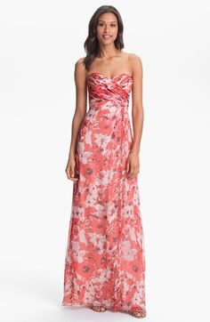 Free shipping and returns on Amsale 'Amore' Print Silk Chiffon Gown at Nordstrom.com. Artful ruching crisscrosses the strapless, sweetheart-neckline bodice of a sweeping silk-chiffon gown awash in a romantic floral print.