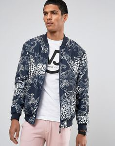 6f0e744d738 VERSACE JEANS BOMBER JACKET IN TIGER PRINT - NAVY.  versacejeans  cloth