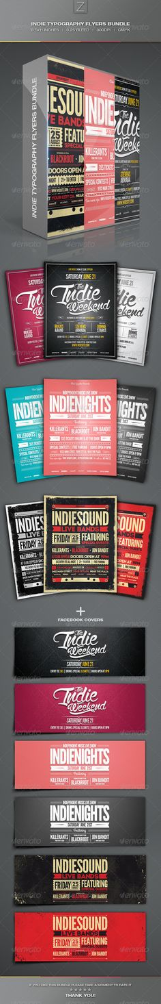 Indie Typography Flyer Template  Flyer Template And Typography