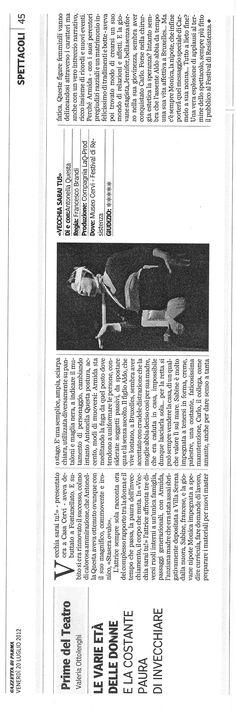 La bella recensione di Valeria Ottolenghi per VECCHIA SARAI TU! dopo il Festival della Resistenza Museo Cervi (RE)