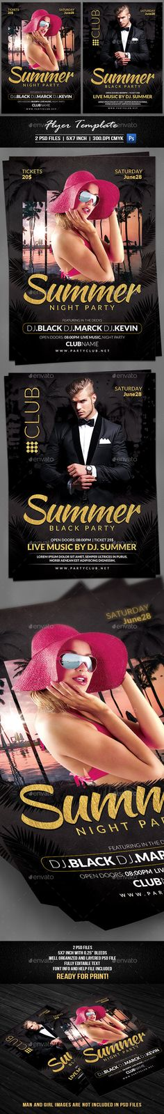 #Summer #Night Party #Flyer Template - Flyers Print Templates Download here: https://graphicriver.net/item/summer-night-party-flyer-template/19719091?ref=alena994