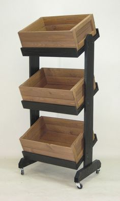 These wooden display crates are made of solid pine with black painted finish for a rustic look. These wooden display crates include casters for easy mobility. Produce Displays, Store Displays, Ikea Furniture, Pallet Furniture, Furniture Market, Furniture Removal, Rustic Furniture, Luxury Furniture, Antique Furniture