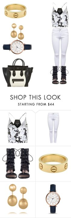 """Leigh-Anne Pinnock inspired"" by al-and-el ❤ liked on Polyvore featuring Topshop, Lipsy, Zimmermann, Cartier, Kenneth Jay Lane, FOSSIL and CÉLINE"