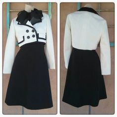 Vintage 1960s Dress Suit Mod Black and White 60s Stewardess 2 PC US8 B36 201624 - pinned by pin4etsy.com
