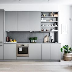 The kitchen set's inspiration is more beautiful and more beautiful is the order - Kitchen Decor Grey Kitchen Interior, Grey Kitchens, Modern Kitchen Design, Home Kitchens, Modern Grey Kitchen, Loft Kitchen, Kitchen Sets, Living Room Kitchen, Kitchen Decor