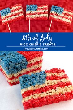 Our 4th of July Rice Krispie Treats are a fun, delicious and easy to make treat for your 4th of July party! This Red White and Blue American Flag Rice Krispie Treat will be a hit with friends and family.  Pin this delicious 4th of July dessert for later and follow us for more fun 4th of July Food Ideas. #4thofJuly #fourthofjuly #4thofJulyTreats #RiceKrispieTreats #RedWhiteandBlue #AmericanFlag #TwoSistersCrafting  via @2SistersCraft