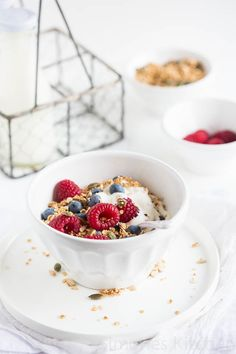 yogurt, granola & fresh fruit to start the day >>