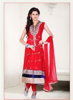 Attractive Rose Madder Red Nett #Anarkali_Suit with Beautiful Crafted Neck