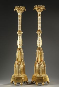 Large pair of French mid 19th century gothic style gilt bronze pricket sticks