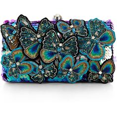 Accessorize Belle Butterfly Hardcase Clutch Bag ($89) ❤ liked on Polyvore featuring bags, handbags, clutches, multi colored handbags, black purse, black handbags, colorful purses and sequin purse