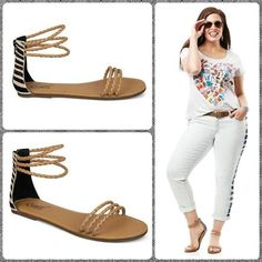 Minimal, strappy & so, so cute. The Carlos by Carlos Santana SERENGETI sandals are loaded with style & fun details like thin woven straps & animal print. Take the scenic route this summer in a graphic modernist tee & cropped jeans. Then arrive at your summer style destination in these fabulous flat Carlos Santana sandals available now at Macy's!