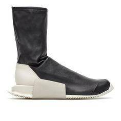 Level stretch sock sneaker from the S/S2017 Rick Owens x Adidas collection in black These level runner high sneakers are from Rick Owens collection in collaboration with Adidas. The level stretch sock sneaker, here in black, is made of leather and features a rubber outsole. - Stretch boots - Rubber sole - Composition: 100% Leather - Outsole: 100% Rubber - Made in China - Sizing: Footwear (UK) - Code: RM17S9811-BY2932