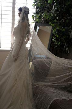 Juliet Bridal Cap Veil 90 inch Ivory Crushed by LasVegasVeils, $165.00