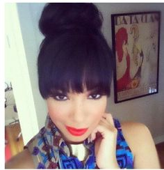 Super Donut Bun With Bangs Check Out My Blog For Morecabelo Crespo Short Hairstyles For Black Women Fulllsitofus