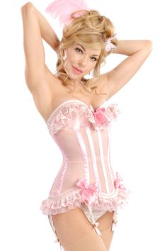 """Marie Antoinette"" pink underwire corset with ribbons and ruffle details from Trashy Lingerie."