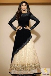 Wedding Bridal Bollywood Net Brocade Black Lehenga Style Anarkali Dress