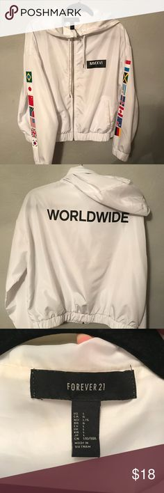 WORLDWIDE flag printed Snow White zip windbreaker Very great condition only worn once, metal zipper and very light windbreaker. Forever 21 Jackets & Coats Utility Jackets