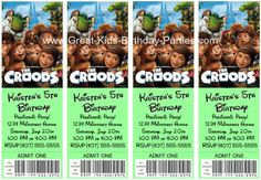 """Free Printable Ticket """"The Croods"""" Invitations.  Make them in minutes, see how."""